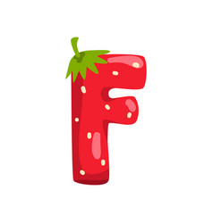 Letter f english alphabet made from ripe fresh vector