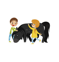 litlle kids taking care of they horse equestrian vector image
