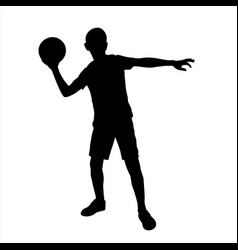 little boy ready to throw ball silhouette vector image
