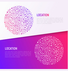 location concept in circle with thin line icons vector image