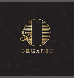 logo o organic emblem leaves nature vector image