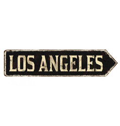 los angeles vintage rusty metal sign vector image