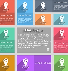 Map pointer icon sign Set of multicolored buttons vector image