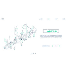 marketing - line design style isometric web banner vector image
