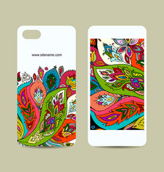 Mobile phone design floral background vector