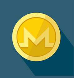Monero icon as golden coin vector