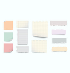 notebook torn pages sheets color notes paper and vector image