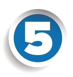 Number Five sticker blue vector image