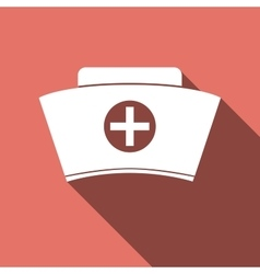 Nurse hat icon with long shadow vector