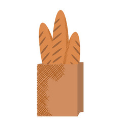 paper bag for bread french vector image vector image