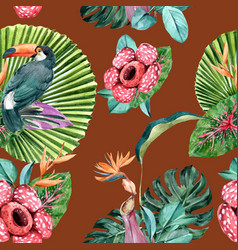 Pattern design with toucan and tropical plants vector