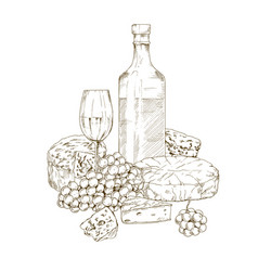 Pile of hand drawn cheese with wine vector