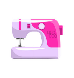 Pink modern electronic sewing machine dressmakers vector