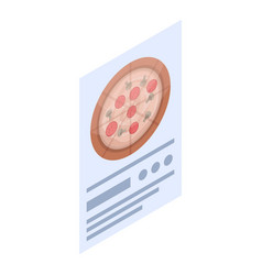 pizza menu paper icon isometric style vector image