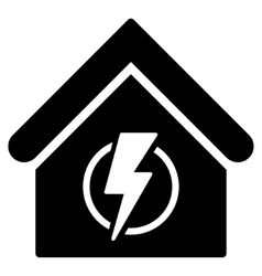 Power Supply Building Flat Icon vector