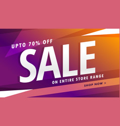 Purple sale banner design for marketing vector