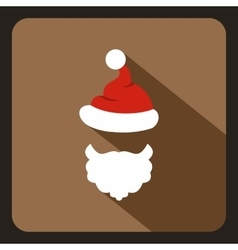 Red hat with pompom and beard of Santa Claus icon vector