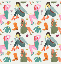 Retro fashion model seamless pattern vintage vector