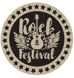 round emblem with the guitar for a rock festival vector image