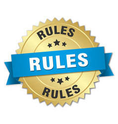 Rules 3d gold badge with blue ribbon vector