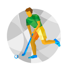 Running field hockey player with abstract patterns vector