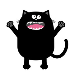 Screaming meowing black cat silhouette holding vector