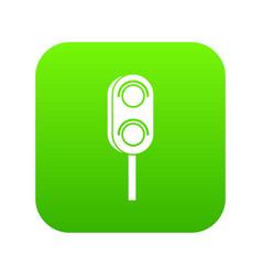 semaphore trafficlight icon digital green vector image