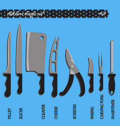 set number two kitchen knives vector image