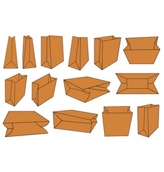 set of different brown paper bags vector image