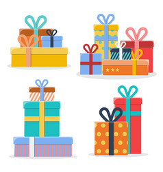 set of piles of different colorful gift boxes vector image