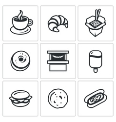 Set of Street Fast Food Icons Coffee vector image