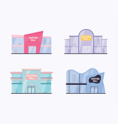 set shopping mall building exterior flat vector image