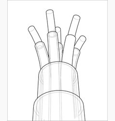 seven-wire cable wire frame vector image