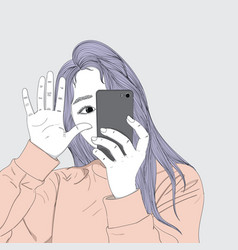 She is taking photos in her daily life vector