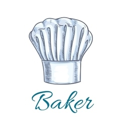 Sketched chef hat or baker cap for menu design vector