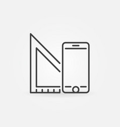 Smartphone with ruler outline icon or vector