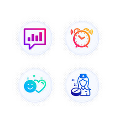 Smile alarm clock and analytical chat icons set vector
