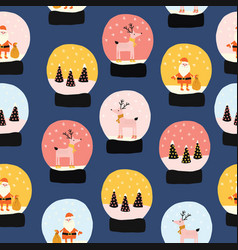 snow globes seamless holiday pattern hand vector image