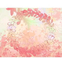 Soft pink grungy background with floral frame vector image