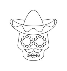 sugar skull in sombrero line icon on white vector image