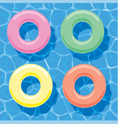 Summer background with inflatable rings floating vector