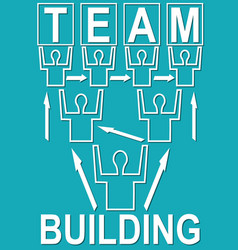 Team building banner with people mono line vector