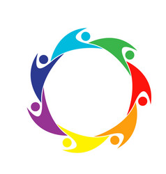 Teamwork colorful people logo vector