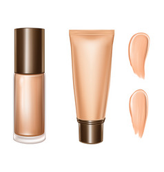 Tonal foundation cream 3d bottle and tube vector