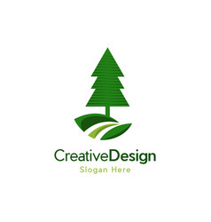 tree pine landscaping naturally logo vector image