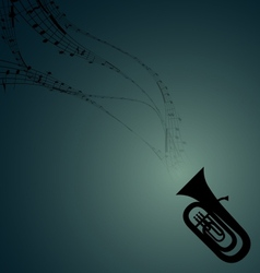 Tuba with Musical Symbols vector image