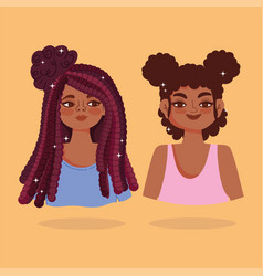 two african american women face with afro hair vector image