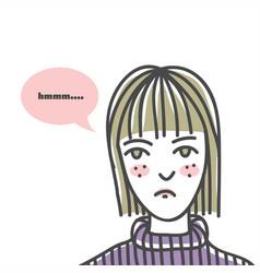 ugly woman line art vector image