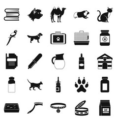 vet icons set simple style vector image