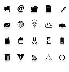 Web and internet icons with reflect on white vector image